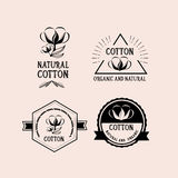 Cotton badges design, organic product.Vector with graphic. Royalty Free Stock Photos