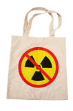 Cotton bag for no nuclear. On white background Stock Images