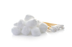 Cotton ball and cotton buds on white background Stock Image