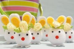 Cotton Ball Easter Bunnies Stock Photos