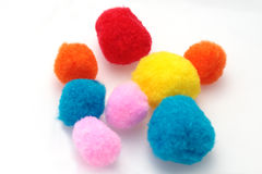 Cotton balls. Colored cotton balls for cleaning the skin Royalty Free Stock Photos