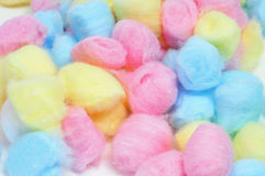 Cotton balls. Closeup of a pile of cotton balls of different colors Royalty Free Stock Images