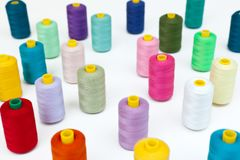 Cotton bobbins in a random array. Stock Images