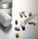 Cotton bud and bandage Royalty Free Stock Image