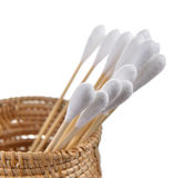 Cotton bud in the basket on white background Royalty Free Stock Photo
