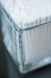 Cotton buds. In a glass corner view close up Royalty Free Stock Photo
