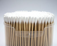 Cotton buds in box on white background. Royalty Free Stock Photography