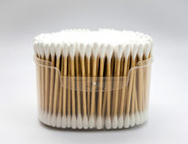 Cotton buds in box on white background. Stock Images