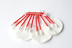 Cotton buds and disks Royalty Free Stock Photos