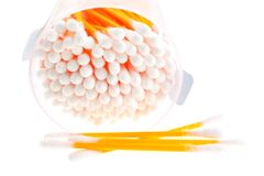 Cotton buds in transparent plastic box Stock Images