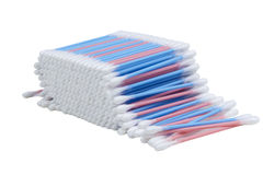 Cotton Buds on White Background Royalty Free Stock Images