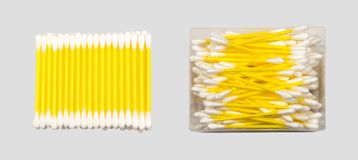 Cotton Buds. Yellow Cotton Swab . Buds with Wool Fibers Closeup. Photo view from above Royalty Free Stock Photos
