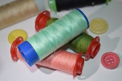 Cotton. Buttons tailor cotton to sew tailoring stock photography