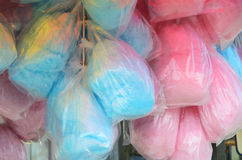 Cotton Candy. Bags of cotton candy await on the Santa Monica Pier in Southern California Stock Photography