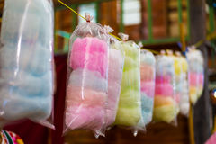 Cotton candy. In rainbow colours Stock Photography