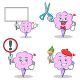 Cotton candy character set with board sign barber artist Royalty Free Stock Photo