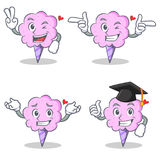 Cotton candy character set with two finger wink graduation. Vector illustration Royalty Free Stock Images