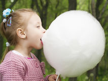 Cotton candy eat Stock Photo