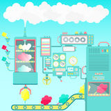 Cotton candy factory Stock Image