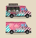 Cotton Candy, a kiosk on wheels, retail, candy and confectionery, illustrated and flat style vector illustration. Dried stock illustration