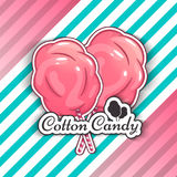 Cotton Candy  Logo Emblem for Your Products, Vector Illustration of Handmade. Symbol of a cloud of sugar Royalty Free Stock Image