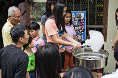 Cotton candy making Royalty Free Stock Photo