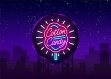 Cotton candy neon sign. Cotton candy logo in neon style symbol banner light, bright cotton candy night advertising Stock Images