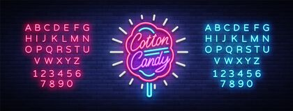 Cotton candy neon sign. Cotton candy logo in neon style symbol banner light, bright cotton candy night advertising Stock Photo