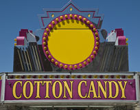 Cotton Candy Sign. Against Blue sky with room for copy space in Yellow Circle Royalty Free Stock Images