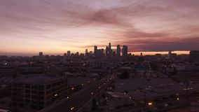 Cotton candy skies over Downtown Los Angeles stock video