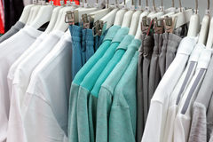 Cotton clothing and pant. Cotton clothes and pants hanging in the clothing store Stock Photography