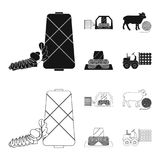 Cotton, coil, thread, pest, and other web icon in black,outline style. Textiles, industry, gear icons in set collection. Cotton, coil, thread, pest, and other Stock Images