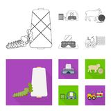 Cotton, coil, thread, pest, and other web icon in outline,flat style. Textiles, industry, gear icons in set collection. Cotton, coil, thread, pest, and other Stock Photography