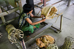Cotton weaving. Process of collection cotton and tool Stock Photos