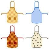 Cotton cotton apron. A set of kitchen cotton aprons with pockets. Flat design,  illustration Stock Photography