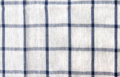 Cotton dish towel texture. Macro of cotton kitchen towel or linen with blue pattern Royalty Free Stock Images