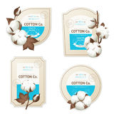 Cotton Emblem Package Icon Set. Realistic cotton emblem package icon set with cotton oil sea soft description vector illustration Stock Image