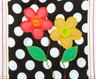 Cotton embroidery art with flowers Stock Image