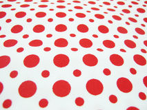 Cotton Fabric. A cotton fabric having a polka dots pattern used for manufacturing clothes Stock Photo
