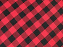 Cotton fabric in a black and red checkered Stock Photo