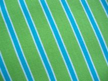 Cotton fabric with blue green and white stripes Stock Photo