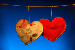 Cotton fabric hearts Stock Images