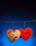 Cotton fabric hearts Royalty Free Stock Photography