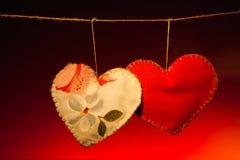 Cotton fabric hearts Stock Photo