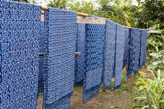 Cotton fabric indigo dye in varity pattern Stock Photo