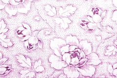 Cotton fabric with peony flower print Royalty Free Stock Photos