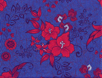 Cotton fabric with red hibiscus. Stock Images