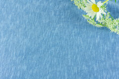 Cotton fabric  with summer flowers. Cotton fabric in blue with summer flowers Stock Photography
