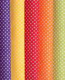 Cotton fabric with white polka dots Stock Photography