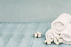 Cotton Flowers and Fresh Laundered Towels Against Blue Backgroun. Rolled up white fluffy towels with cotton flowers against a blurred blue background with free royalty free stock photo